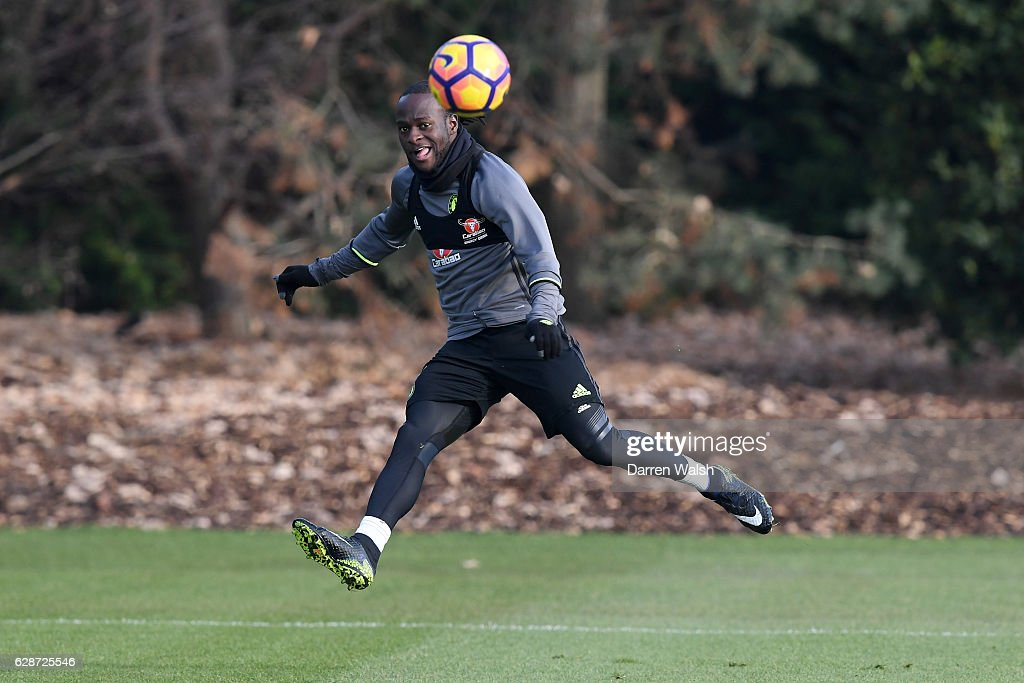 Victor Moses of Chelsea during a training session at Chelsea Training Ground on December 9, 2016 in Cobham, England.