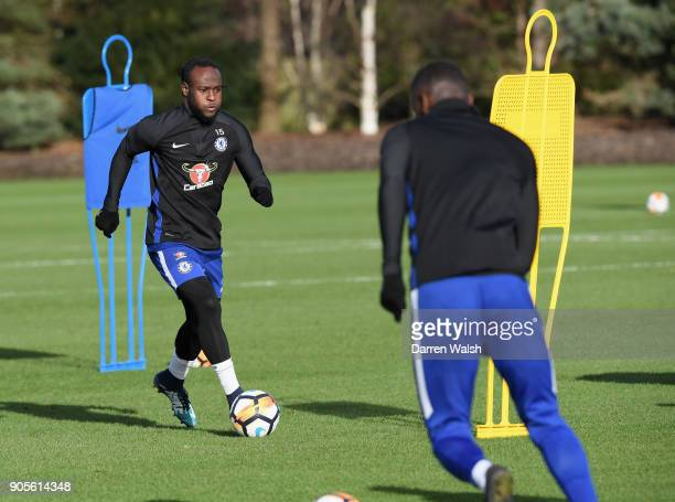 Victor Moses of Chelsea during a training session at Chelsea Training Ground on January 16 2018 in Cobham England