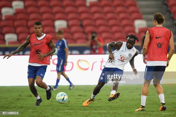 Victor Moses of Chelsea during a training session at Singapore National Stadium on July 24 2017 in Singapore