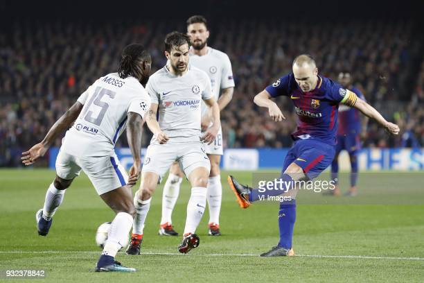 Victor Moses of Chelsea FC Cesc Fabregas of Chelsea FC Olivier Giroud of Chelsea FC Andres Iniesta of FC Barcelona during the UEFA Champions League...