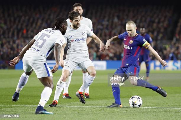 Victor Moses of Chelsea FC Olivier Giroud of Chelsea FC Cesc Fabregas of Chelsea FC Andres Iniesta of FC Barcelona during the UEFA Champions League...