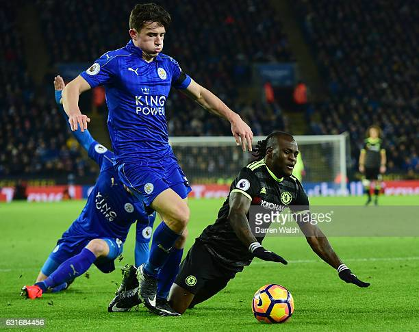 Victor Moses of Chelsea gores down under the challenge from Ben Chilwell of Leicester City during the Premier League match between Leicester City and...