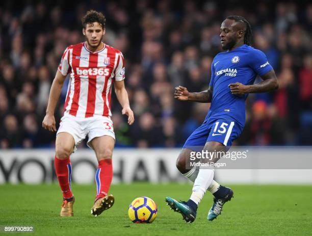 Victor Moses of Chelsea in action during the Premier League match between Chelsea and Stoke City at Stamford Bridge on December 30 2017 in London...