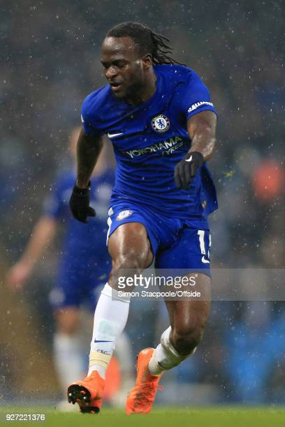 Victor Moses of Chelsea in action during the Premier League match between Manchester City and Chelsea at the Etihad Stadium on March 4 2018 in...