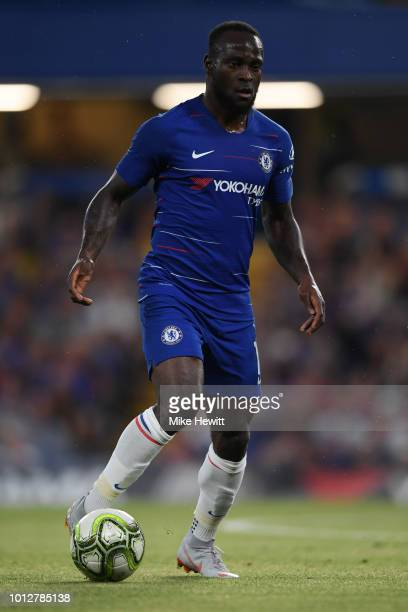 Victor Moses of Chelsea in action during the preseason friendly match between Chelsea and Lyon at Stamford Bridge on August 7 2018 in London England