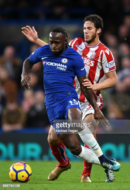 Victor Moses of Chelsea is closed down by Ramadan Sobhi of Stoke City during the Premier League match between Chelsea and Stoke City at Stamford...