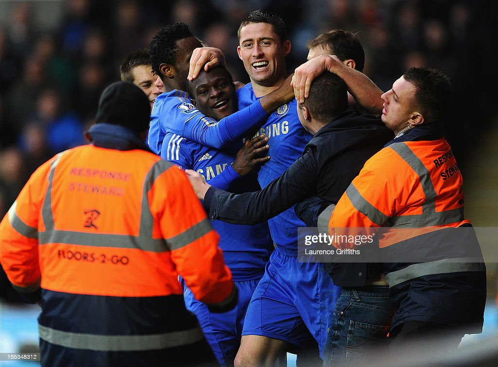 Victor Moses of Chelsea is congratulated by Gary Cahill on scoring the opening goal during the Barclays Premier League match between Swansea City and Chelsea at Liberty Stadium on November 3, 2012 in Swansea, Wales.
