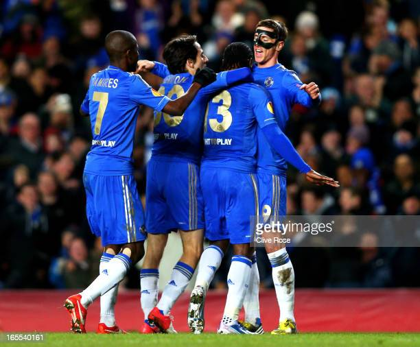 Victor Moses of Chelsea is congratulated teammates Ramires , Yossi Benayoun and Fernando Torres after scoring his team's second goal during the UEFA...