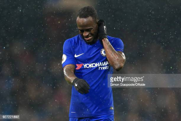 Victor Moses of Chelsea looks dejected during the Premier League match between Manchester City and Chelsea at the Etihad Stadium on March 4 2018 in...