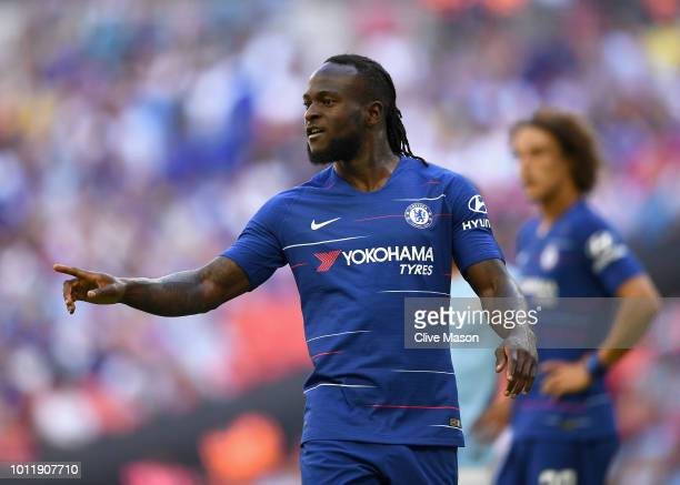 Victor Moses of Chelsea looks on during the FA Community Shield match between Manchester City and Chelsea at Wembley Stadium on August 5 2018 in...