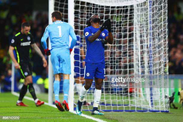 Victor Moses of Chelsea reacts after a missed chance during the Premier League match between Chelsea and Brighton and Hove Albion at Stamford Bridge...