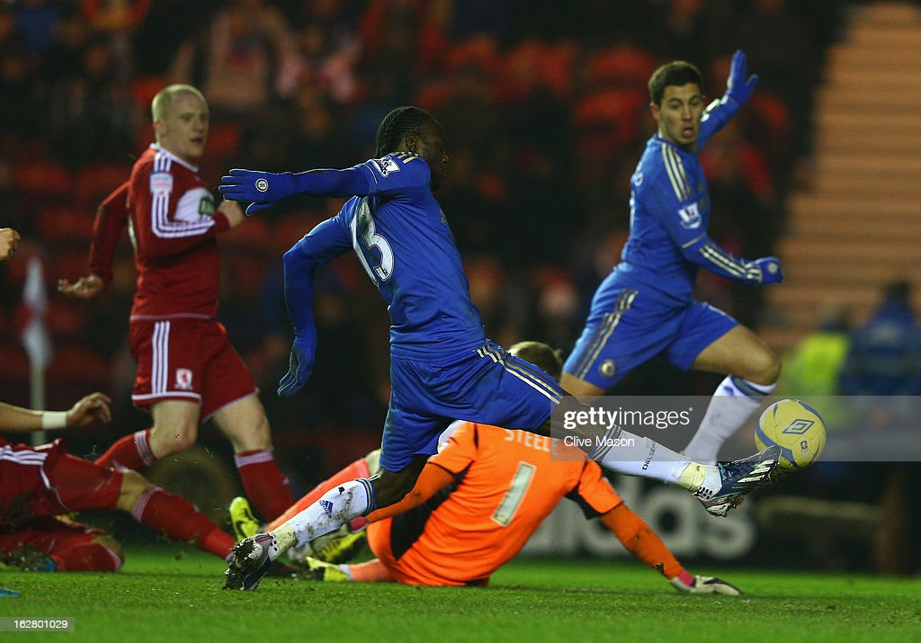 Victor Moses of Chelsea scores a goal during the FA Cup with Budweiser Fifth Round match between Middlesbrough and Chelsea at Riverside Stadium on February 27, 2013 in Middlesbrough, England.