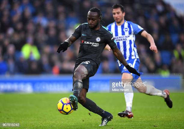 Victor Moses of Chelsea scores his side's fourth goal during the Premier League match between Brighton and Hove Albion and Chelsea at Amex Stadium on...