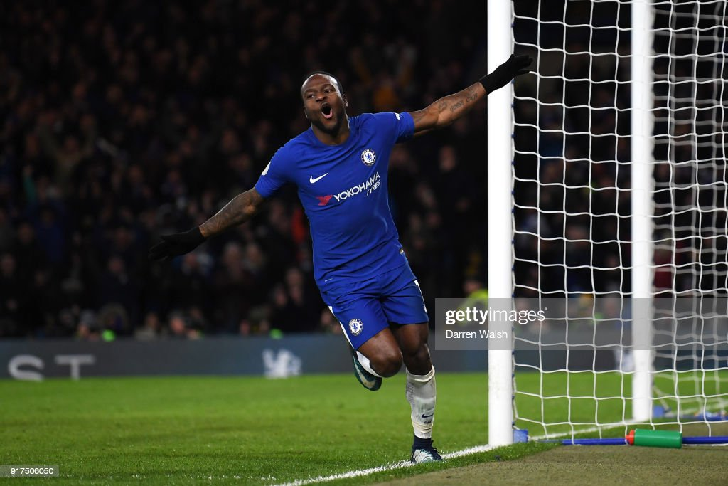 Victor Moses of Chelsea scores his sides second goal during the Premier League match between Chelsea and West Bromwich Albion at Stamford Bridge on February 12, 2018 in London, England.