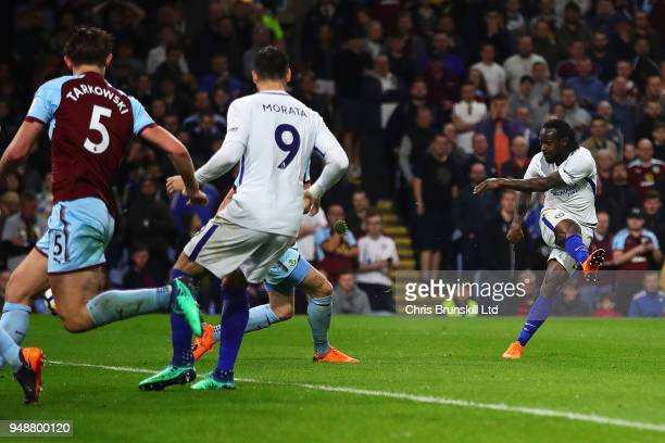 Victor Moses of Chelsea scores his side's second goal during the Premier League match between Burnley and Chelsea at Turf Moor on April 19 2018 in...