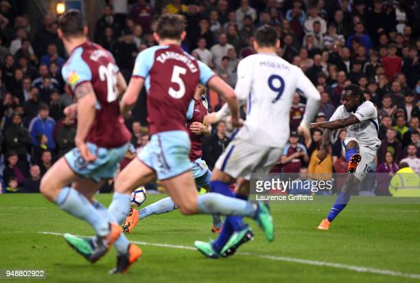 Victor Moses of Chelsea scores his sides second goal during the Premier League match between Burnley and Chelsea at Turf Moor on April 19 2018 in...