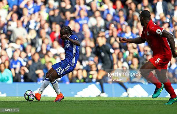 Victor Moses of Chelsea scores his sides third goal during the Premier League match between Chelsea and Leicester City at Stamford Bridge on October...
