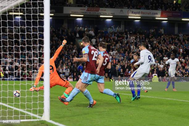Victor Moses of Chelsea scores their 2nd goal during the Premier League match between Burnley and Chelsea at Turf Moor on April 19 2018 in Burnley...