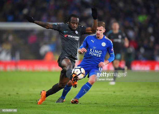 Victor Moses of Chelsea takes on Marc Albrighton of Leicester City during The Emirates FA Cup Quarter Final match between Leicester City and Chelsea...