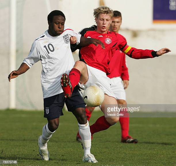 Victor Moses of England is challenge by Patrick Funk of Germany during the Men's U17 international Tournament match between England and Germany at...