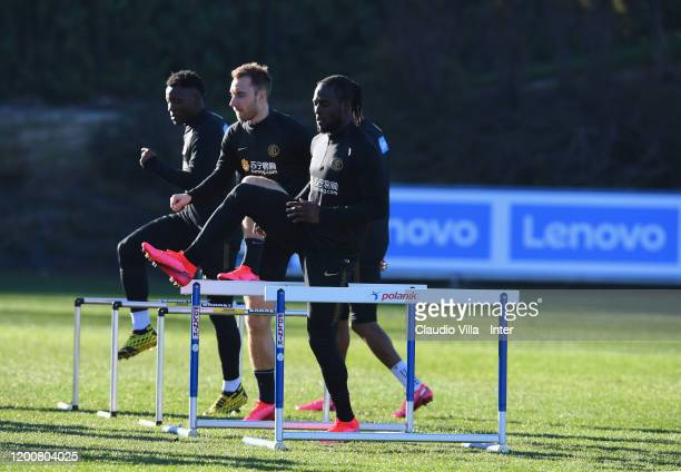 Victor Moses of FC Internazionale in action during a FC Internazionale training session at Appiano Gentile on February 14 2020 in Como Italy