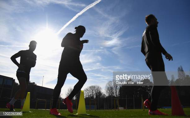 Victor Moses of FC Internazionale in action during FC Internazionale training session at Appiano Gentile on February 21 2020 in Como Italy
