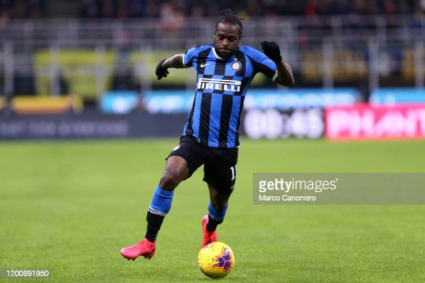 Victor Moses of FC Internazionale in action during the Coppa Italia semifinal first leg match between FC Internazionale and Ssc Napoli Ssc Napoli...