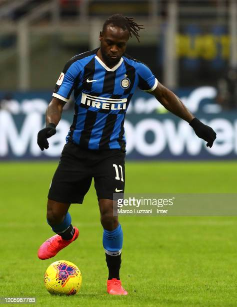 Victor Moses of FC Internazionale in action during the Coppa Italia Semi Final match between FC Internazionale and SSC Napoli at Stadio Giuseppe...