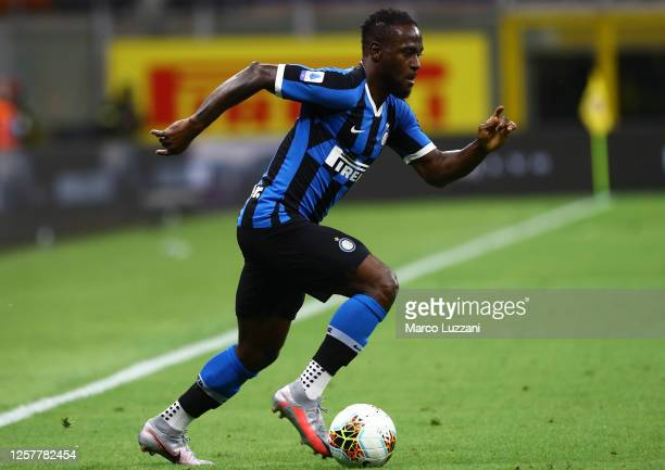 Victor Moses of FC Internazionale in action during the Serie A match between FC Internazionale and ACF Fiorentina at Stadio Giuseppe Meazza on July...