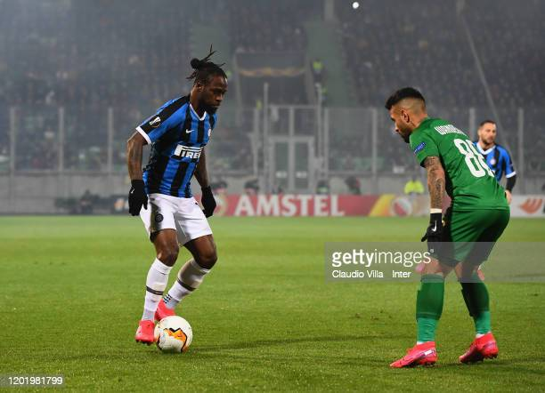 Victor Moses of FC Internazionale in action during the UEFA Europa League round of 32 first leg match between PFC Ludogorets Razgrad and FC...