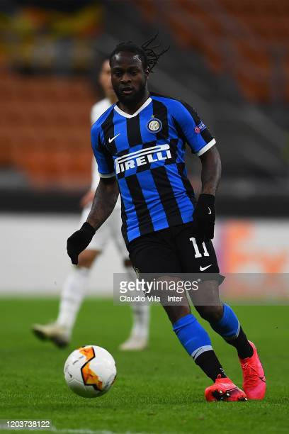 Victor Moses of FC Internazionale in action during the UEFA Europa League round of 32 second leg match between FC Internazionale and PFC Ludogorets...
