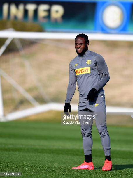 Victor Moses of FC Internazionale looks on during a training session at Appiano Gentile on February 19 2020 in Como Italy
