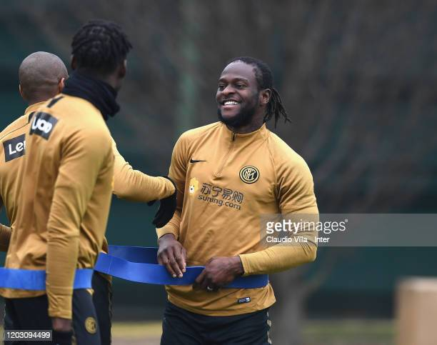 Victor Moses of FC Internazionale reacts during FC Internazionale training session at Appiano Gentile on February 25 2020 in Como Italy