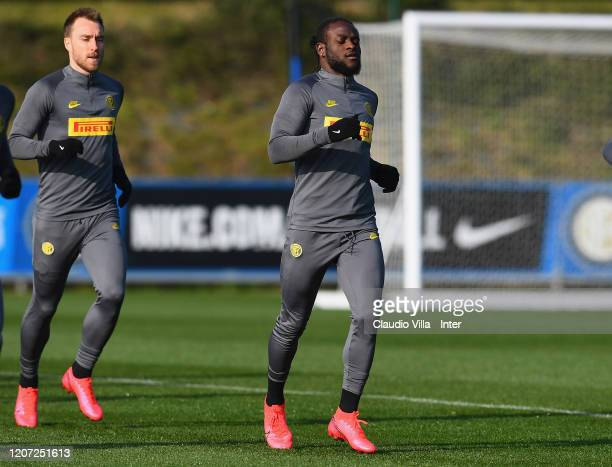 Victor Moses of FC Internazionale runs during a training session at Appiano Gentile on February 19 2020 in Como Italy