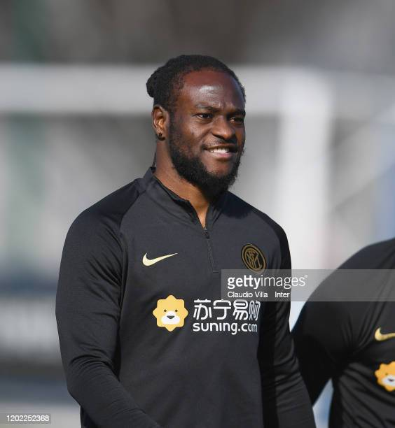Victor Moses of FC Internazionale smiles during FC Internazionale training session at Appiano Gentile on February 21 2020 in Como Italy
