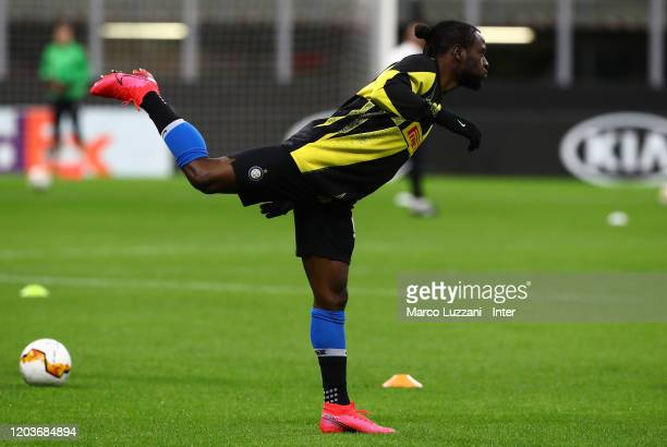 Victor Moses of FC Internazionale warms up ahead before the UEFA Europa League round of 32 second leg match between FC Internazionale and PFC...
