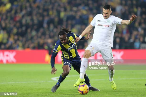 Victor Moses of Fenerbahce in action against Adis Jahovic of Atiker Konyaspor during Turkish Super Lig soccer match between Fenerbahce and Atiker...