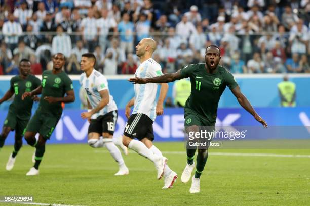 Victor Moses of Nigeria celebrates after scoring his team's first goal during the 2018 FIFA World Cup Russia group D match between Nigeria and...