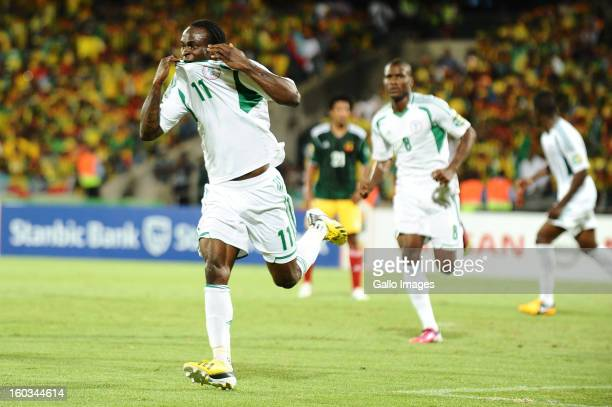 Victor Moses of Nigeria celebrates scoring his second goal during the 2013 African Cup of Nations match between Ethiopia and Nigeria at Royal...