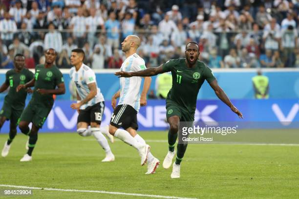 Victor Moses of Nigeria celebrates scoring his sides opening goal to make the score 11 during the 2018 FIFA World Cup Russia group D match between...