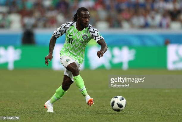 Victor Moses of Nigeria during the 2018 FIFA World Cup Russia group D match between Nigeria and Iceland at Volgograd Arena on June 22 2018 in...