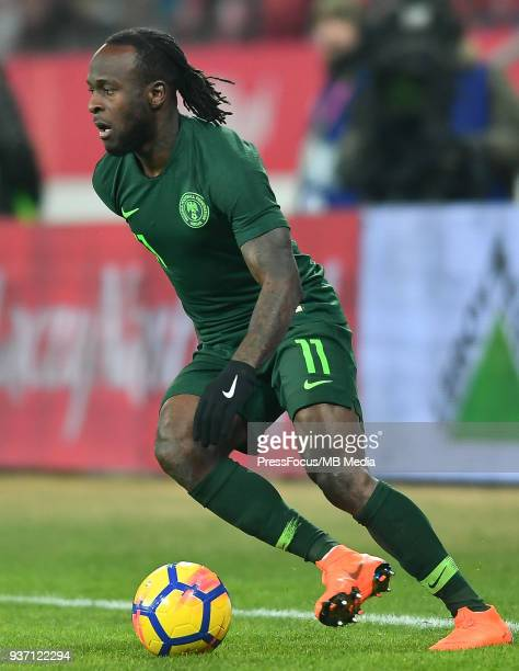Victor Moses of Nigeria during the international friendly match between Poland and Nigeria at the Municipal Stadium on March 23 2018 in Wroclaw Poland