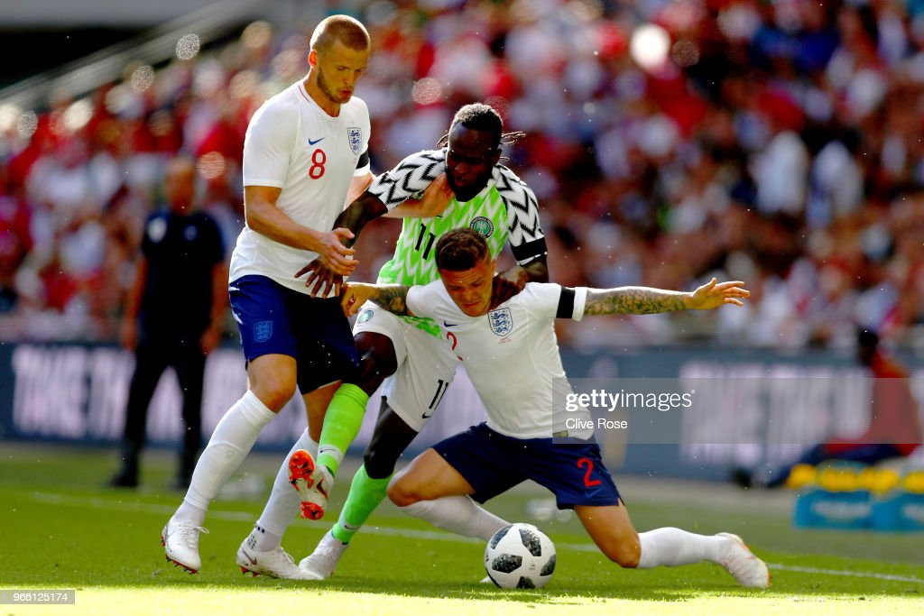 Victor Moses of Nigeria in action with Eric Dier and Kieran Trippier of England during an International Friendly between England and Nigeria at Wembley Stadium on June 2, 2018 in London, England.