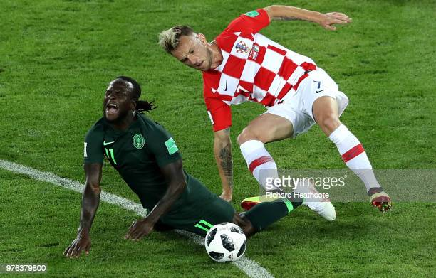 Victor Moses of Nigeria is fouled by Ivan Rakitic of Croatia during the 2018 FIFA World Cup Russia group D match between Croatia and Nigeria at...