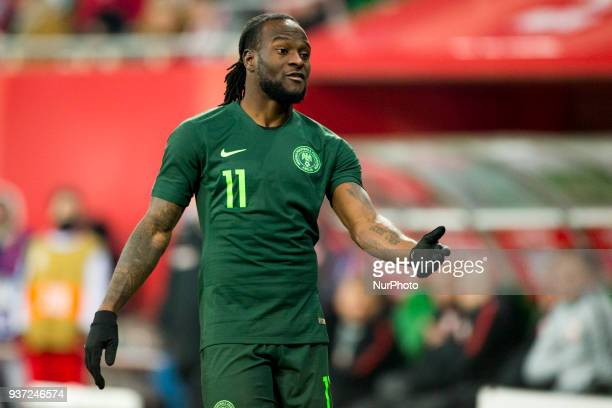 Victor Moses of Nigeria pictured during the international friendly match between Poland and Nigeria at Wroclaw Stadium in Wroclaw Poland on March 23...