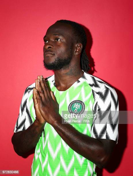 Victor Moses of Nigeria poses during the official FIFA World Cup 2018 portrait session on June 12 2018 in Yessentuki Russia