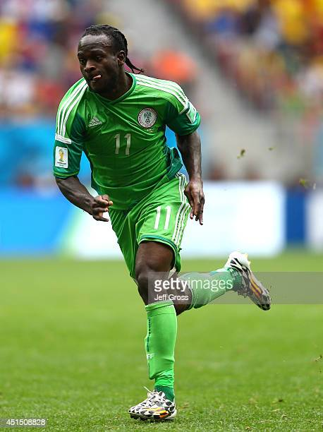 Victor Moses of Nigeria runs on during the 2014 FIFA World Cup Brazil Round of 16 match between France and Nigeria at Estadio Nacional on June 30...