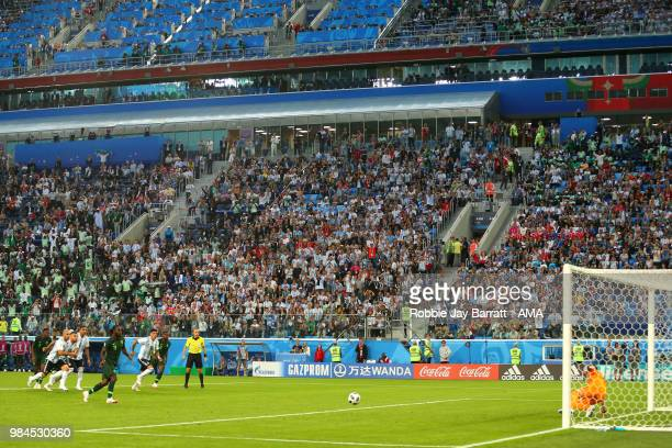 Victor Moses of Nigeria scores a penalty to make it 11 during the 2018 FIFA World Cup Russia group D match between Nigeria and Argentina at Saint...