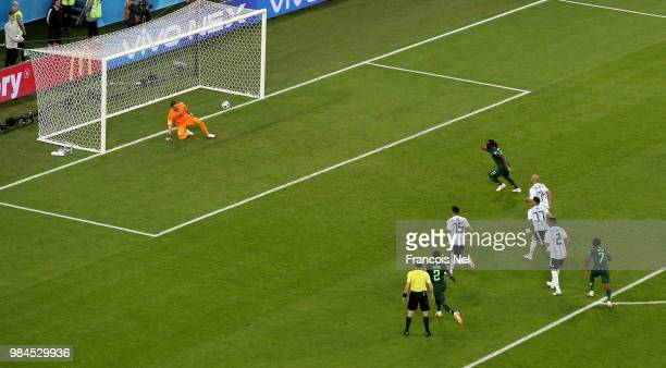 Victor Moses of Nigeria scores his sides opening goal from a penalty to make the score 11 during the 2018 FIFA World Cup Russia group D match between...