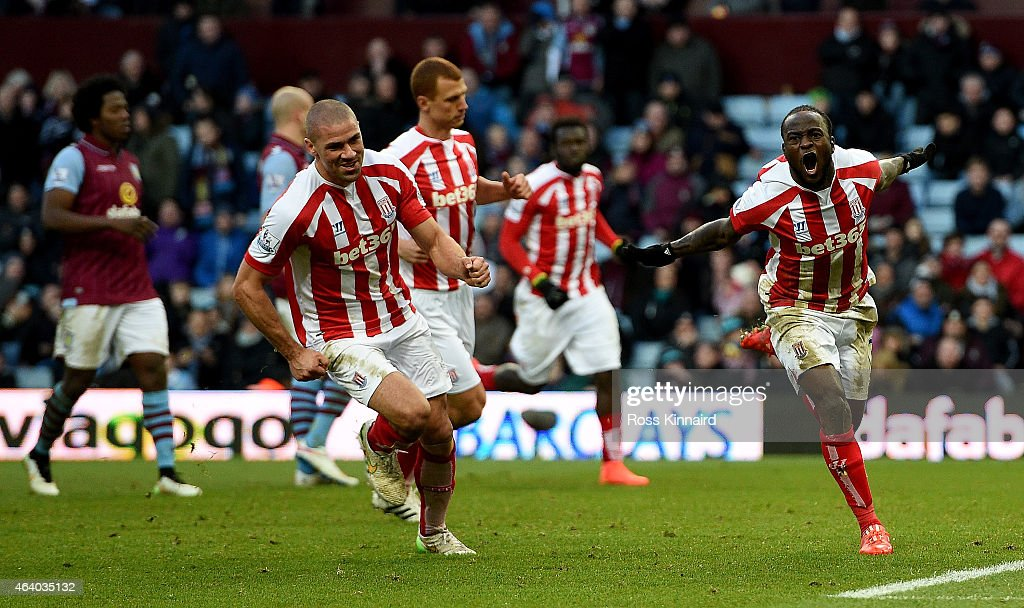 Victor Moses of Stoke celebrates after he scores from the penalty spot during the Barclays Premier League match between Aston Villa and Stoke City at Villa Park on February 21, 2015 in Birmingham, England.